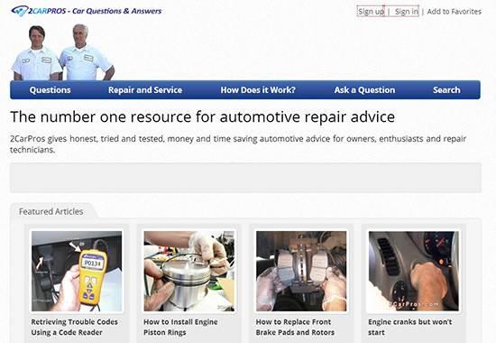 2CarPros - auto repair help websites
